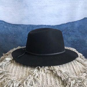 Brixton Wesley Black Wool Felt Fedora Hat